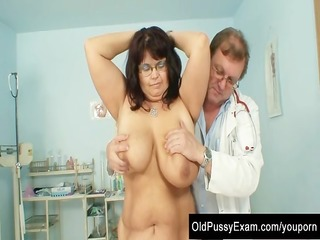 older daniela has her massive tits checked at gyno