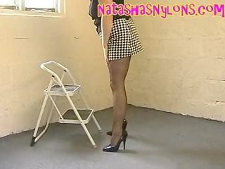 wife clothed like a slut in stockings miniskirt
