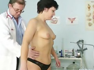 older woman eva visits gyno doctor to receive