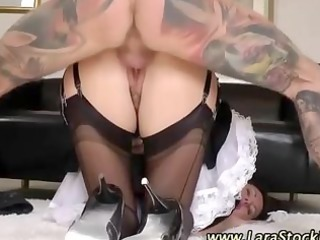 nylons maid receives a facial after being screwed