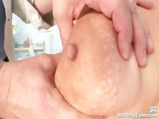 bulky mature radka receives real speculum exam by