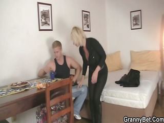 old blond rides his unyielding pecker