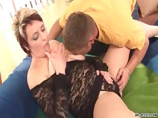 plump aged golden-haired doxy acquires her fat