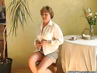 hawt grandma probes her old vagina with a dildo