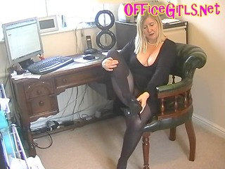 big beautiful woman secretary wench in dark hose